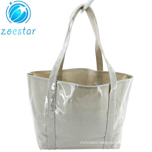 Special Design Canvas Shopping Bag with Full Transparant PVC Covering Supermarket Storage Bag Women Beach Totebag