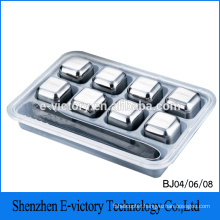 Wholesale stainless steel whiskey ice cube/stone, beer chiller cube , wine cooler cube