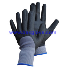 15gauge Nylon / Spandex Liner, Nitrile Coating, 3/4, Micro-Foam Safety Gants