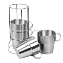 High quality 4pcs/Set Stainless steel double wall cup Picnic Coffee Mugs