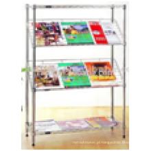 Free Stand Móveis para Escritório Chrome Metal Wire Tabloid Newspaper Rack à Venda