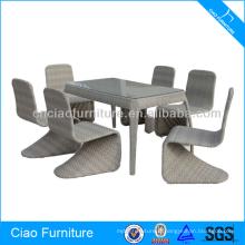 Ensemble de salle à manger de conception moderne de tube en aluminium de meubles extérieurs