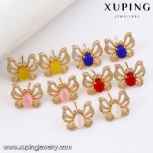 91609 Xuping New Fashion Gemstone Earring, Artificial Diamond Butterfly Stud Earrings