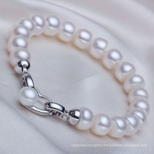 8-9mm Freshwater Pearl Bracelet with Heart Shape Clasp