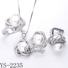 Joyería de moda cultivada perla set plata 925 (ys-2235)