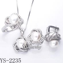 Moda jóias cultivadas pérola set 925 prata (ys-2235)