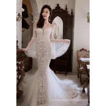 off Shoulder Capped Sleeve Lace Mermaid Wedding Dress