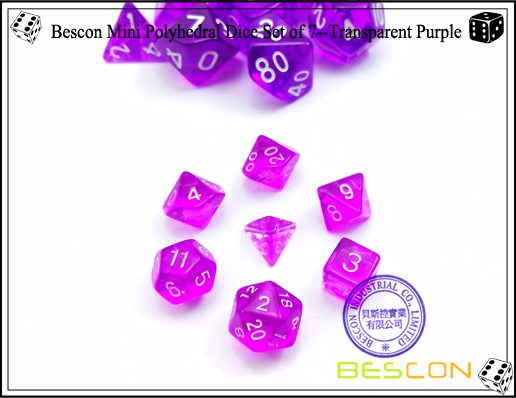 Bescon Mini Polyhedral Dice Set of 7--Transparent Purple-1