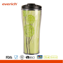 Double Layer Coffee Reusable Plastic Tumbler With Removable Paper Insert