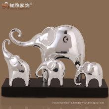 home decour elegant silver color elephant sculptures in group design