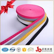 Tejido de poliéster de punto colorido botón agujero correa elástica correa flexible fabricantes