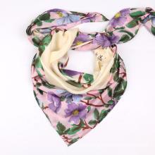 Hot Selling Spring Autumn Twill Satin Silk Scarf Floral Printed Muslim Women Square Hijab Headband Scarves