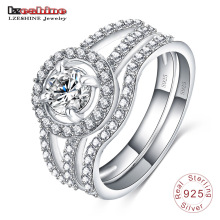 925 Sterling Silver Inlay Diamond Engagement Rings Sets (SRI0022-B)