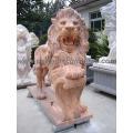 Tallando el animal de la estatua del león de mármol de la piedra para la escultura del jardín (SY-D055)