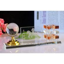 Suporte de caneta de cristal para conjunto de papelaria de escritório de cristal