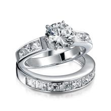 Plata de ley 2CT redonda CZ princesa de compromiso de anillo de boda conjunto