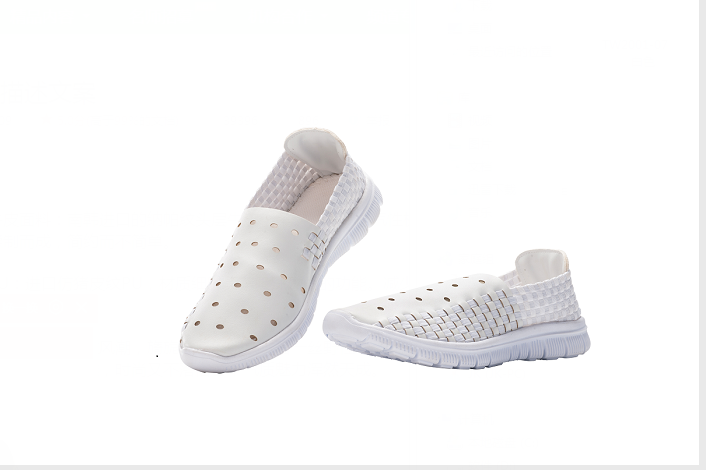 White Woven Microfiber Shoes
