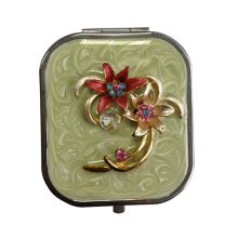 Flower Design Makeup Mirrors with Green Enamel