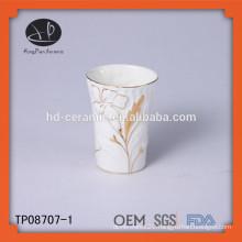 mug with hand paint design, white ceramic mug decorate with gold rim