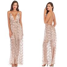 Women's V-neck backless bandage sequins sexy evening dress