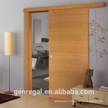 Natural bedroom finish wooden sliding doors