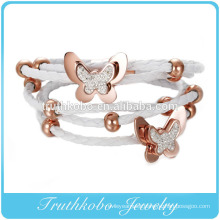 Vacuum Plating Rose Gold Braided Leather Bracelet Stainless Steel Wholesale Snap Button for Leather Bracelet