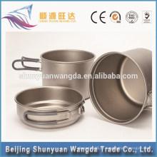 Popular de três peças conjunto de jantar de titânio para o copo do pote e tigela pequena