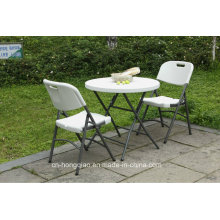 China Supplier 80cm Plastic Folding Small White Round Table (HQ-Y80)