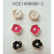 Colorful Flower Set Earrings with a Pearl