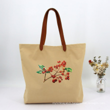 Embroidery Cotton Canvas Reusable Heavy Duty Shopping Grocery Canvas Tote Bag Handbag with Leather Handle