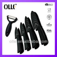 Reliable ceramic bread knife set for wholesalers Shark Handle black blade