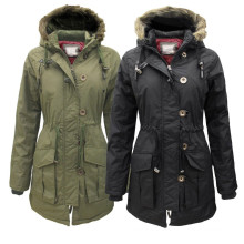 Montana New Womens Military Parka Faux Furs Trim Hood Casaco de jaqueta para senhoras Woodland
