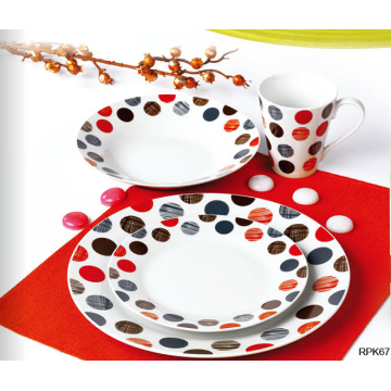 Cheap decalque 16 pcs dinnerware set