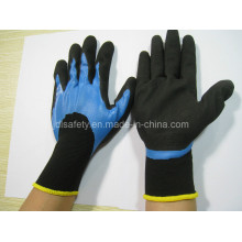 Work Glove of Blue Nitrile 3/4 Coating and Black Sand Coatin on Palm (N1572)