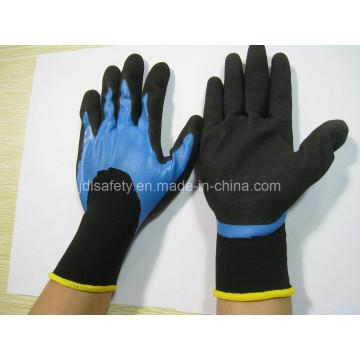 Luva de nitrilo azul 3/4 do revestimento e construções areia preta na palma da mão (N1572)