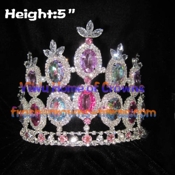 5 pulgadas de grandes coronas de diamante Pageant Queen