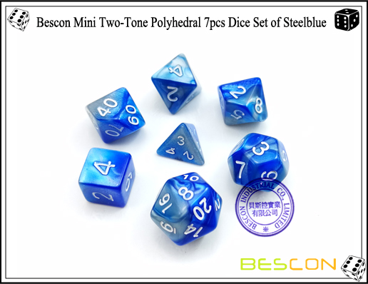 Bescon Mini Two-Tone Polyhedral 7pcs Dice Set of Steelblue-1