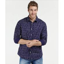 Herren 100% Baumwolle Casual Langarm bedruckte Shirts