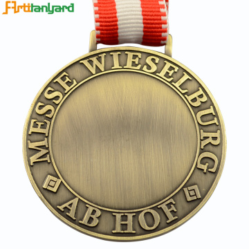 Custom Blank Engraving Sport Medal With Ribbon