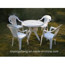 Injection plastique blanc Table avec chaise moule (YS1601)