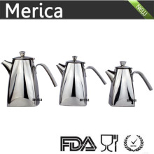 3 Size Stainless Steel Trapezoid Tea and Wattle Pot with Thick Lip