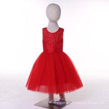 Satinado Tulle rojo / blanco / marfil / turquesa vestido de niña de flores
