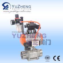 Válvula de esfera de rosca macho 3PC com atuador pneumático e componentes