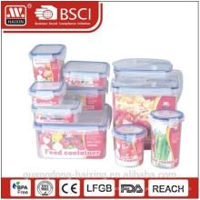 Kunststoff-Lebensmittel-Lagerung-Container set mit Farb-box