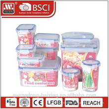 Plastic food storage container set with color box
