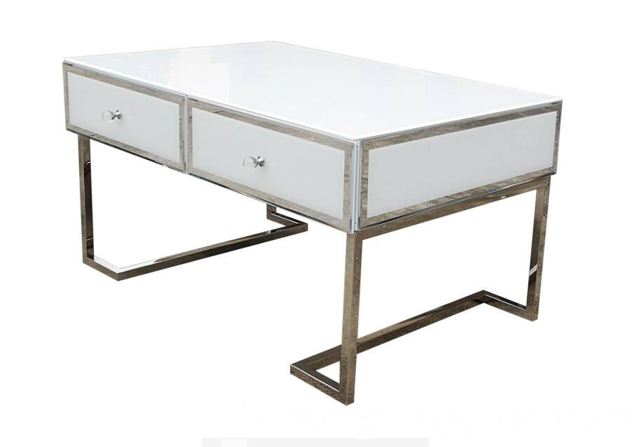 Coffee Table White Glass Metal Frame