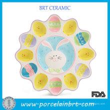 Bandeja de huevo Deviled de cerámica de color de dibujos animados