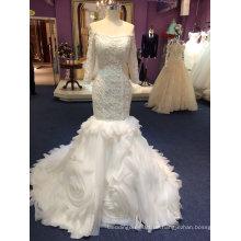 Meerjungfrau lange Hülse Tulle Brautkleider mit Rüschen unten