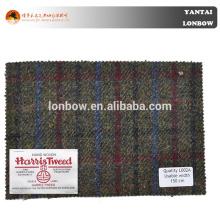 100% wool plaid tweed Harris Tweed woven woolen coat fabric