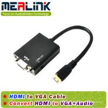 HDMI para VGA + Cabo de áudio de 3,5 mm